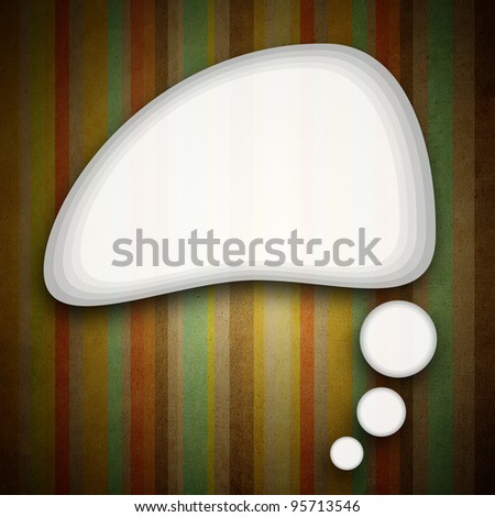blank speech bubble on Striped colorful background. - stock photo