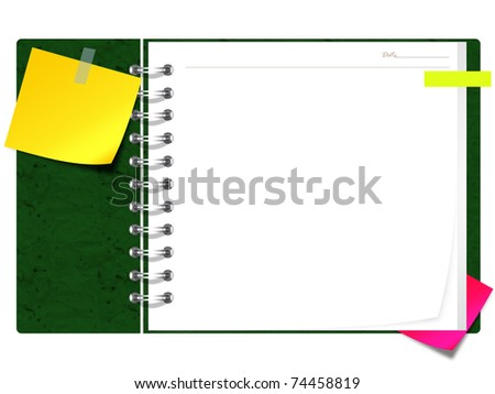 blank spiral book with yellow note paper - stock photo
