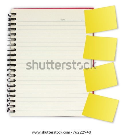 blank spiral book with yellow note paper. isolated on white background - stock photo