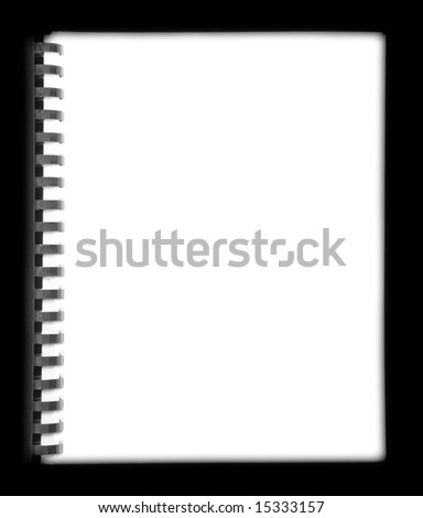 Blank spiral bound notebook on black background