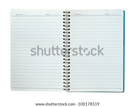 Blank Spiral note isolated on white background