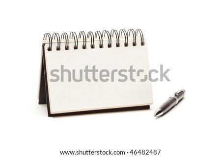 Blank Spiral Note Pad and Pen Isolated on White. - stock photo