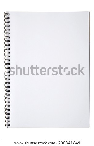 blank spiral notebook, isolated on white - stock photo