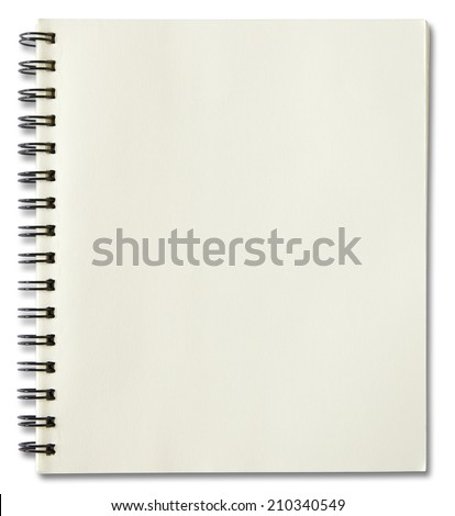 blank spiral notebook isolated on white background