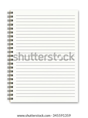Blank spiral notebook isolated on white background - stock photo