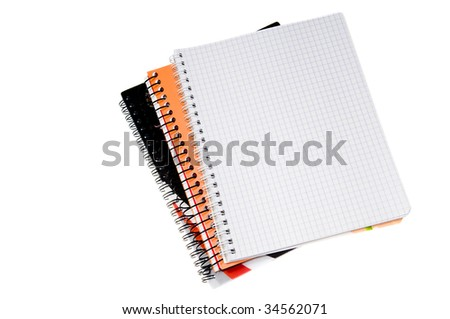 Blank spiral notebook page isolated