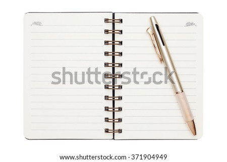 blank spiral notebook with ball point pen isolated on white background
