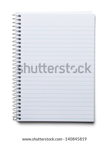 Blank Spiral Notebook with Line Paper Isolated on a White Background.