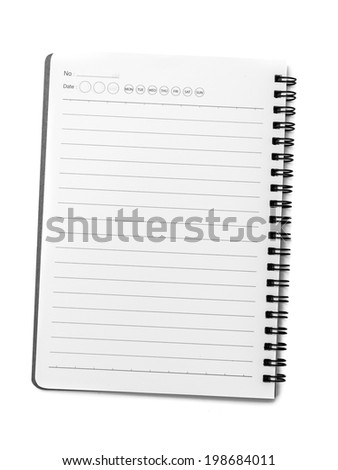 Blank spiral notebook with line paper isolated on white background