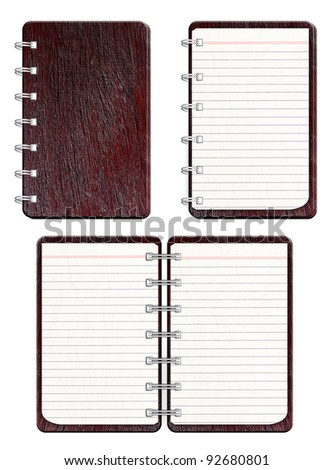 Blank spiral notebook with texture wood front cover.  isolated on white background - stock photo