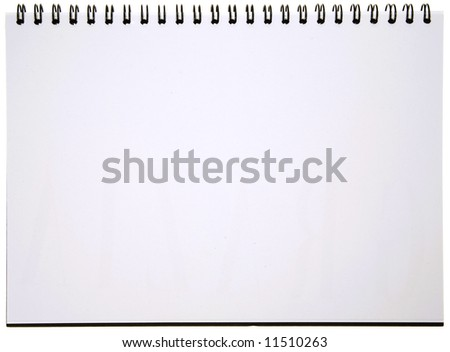 Blank Spiral Notepad isolated on White. Ready for your message. - stock photo