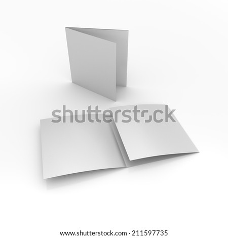 blank square brochures with three wings isolated on white. render - stock photo