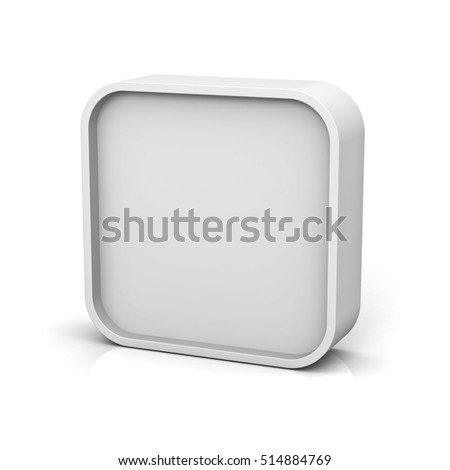 Blank square frame or white web button isolated over white background with reflection and shadow. 3D rendering.
