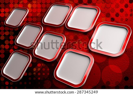 Blank square frames for text on red abstract background with circle shapes ornament - stock photo