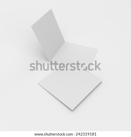 blank square leaflets with two wings isolated on white. render - stock photo