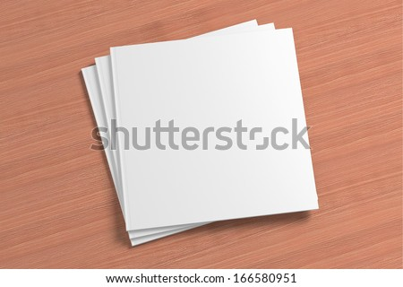 Blank square Magazine on the wooden Background for your design - stock photo