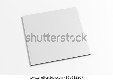 Blank Square Magazine with soft shadows isolated on white - stock photo