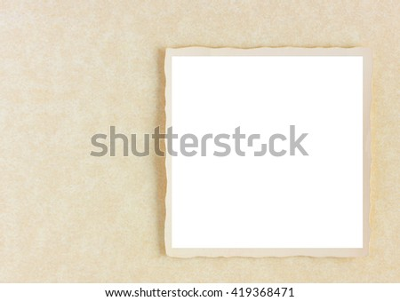 Blank square photograph on vintage parchment paper - stock photo