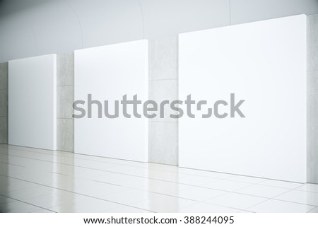 Blank square posters in empty hall, mock up, 3D Render - stock photo