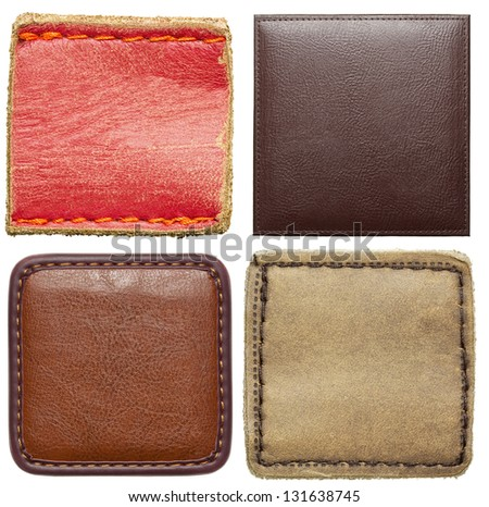 Blank square shape leather labels. - stock photo