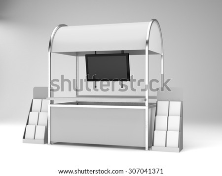 blank stand or kiosk in exhibition with tv display - stock photo