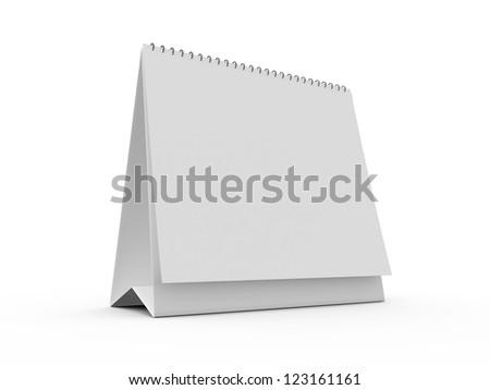 Blank standing paper desk calendar, isolated on white background. - stock photo