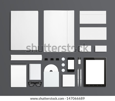 Blank Stationery and Corporate ID Template isolated on grey. Consist of Business cards, letterhead a4, Tablet PC, usb flash drive, bages, pen, envelopes, glasses, tube, folder, notes and smart phones. - stock photo