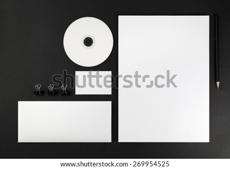 Blank stationery and corporate identity template on dark background. Mock-up for graphic designers portfolios. Top view.