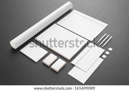Blank Stationery / Corporate ID Set . Consist of Business cards, Folder, envelopes, a4 letterheads, pens,folder. - stock photo