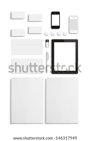 Blank Stationery Corporate ID set isolated on white. Consist of Business cards, letterhead a4, Tablet PC, usb flash drive, bages, pen, envelopes and smart phones. - stock photo