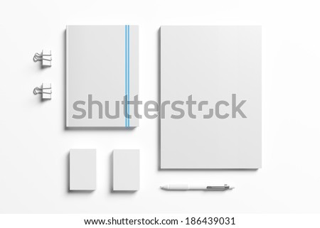 Blank stationery elements isolated on white - stock photo