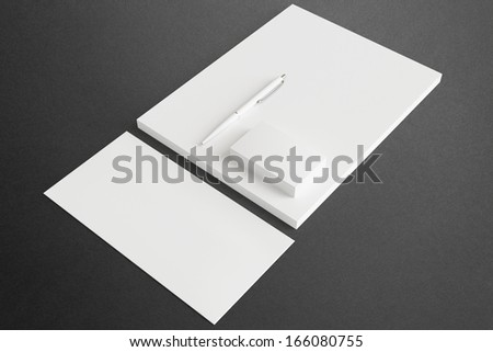 Blank Stationery ID Set for your design. Consist of Business cards, pen, letterhead and envelope.