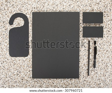 Blank Stationery on marble background. Consist of Business cards, A4 letterheads, pen and pencil