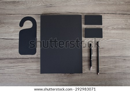 Blank Stationery on white background. Consist of Business cards, A4 letterheads, pen and pencil - stock photo