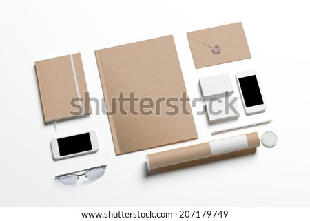 Blank Stationery set isolated on white to replace your design - stock photo