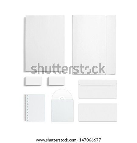 Blank stationery template isolated on white stock illustration blank stationery template isolated on white consist of business cards letterhead a4 envelopes reheart Images