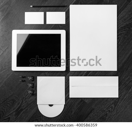 Blank stationery template. Mockup for branding identity on wooden background. Top view.