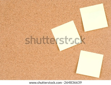 Blank stick notes on bulletin board texture or background, cork board, used for background. - stock photo
