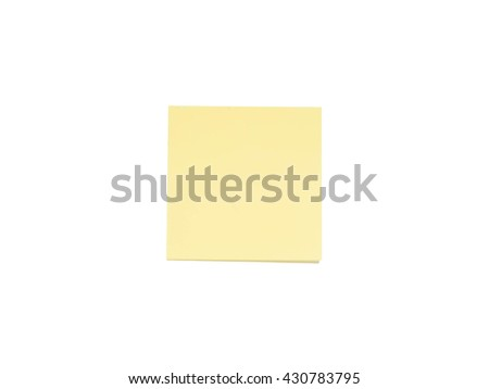 blank sticky note isolated on white background with soft shadow