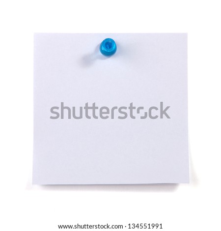 Blank sticky note pinned by the blue pin isolated on white background - stock photo
