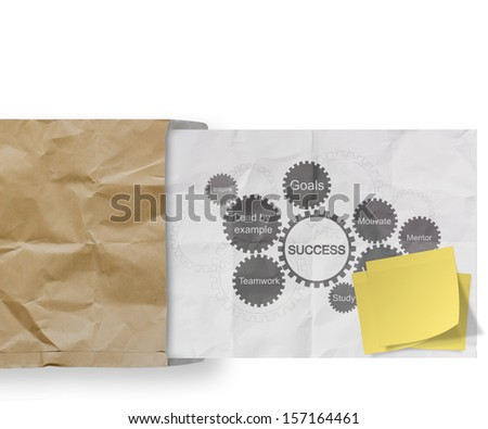blank sticky note with success management and gear business success chart on  crumpled paper background as concept - stock photo