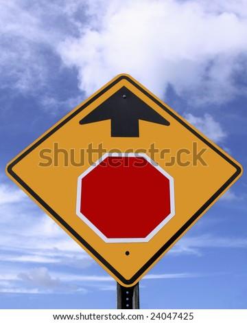 Blank stop ahead warning sign - stock photo