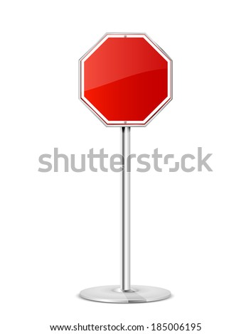 Blank stop road sign with stand isolated on a white background, illustration. - stock photo