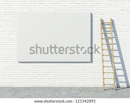 Blank street advertising billboard on brick wall - stock photo