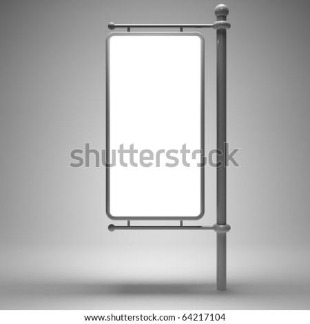 Blank street advertising billboard on gray background - stock photo