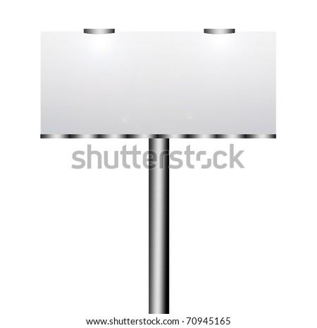 Blank street advertising billboard on white background