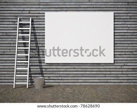 Blank street advertising billboard on wooden wall - stock photo