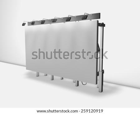 Blank street billboard banner with lights 3d render illustration. - stock photo