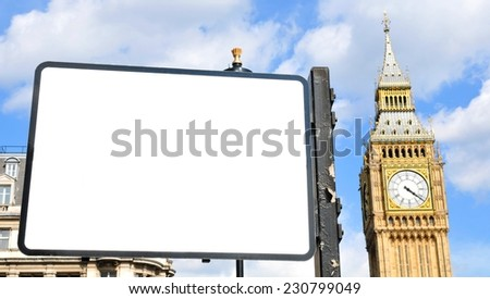 Blank street sign in central London with Big Ben in the background  - stock photo