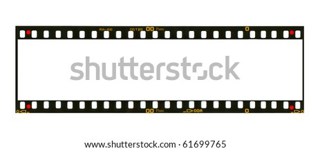 Blank super panoramic format negative picture frame,with free copy space, isolated on white background, - stock photo